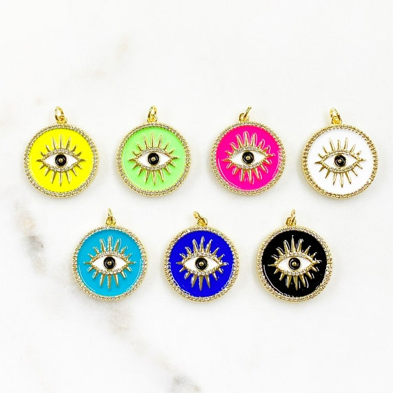 Unique Evil Eye Coin Charm Gold Plated Colorful Enamel Cubic Zirconia Evil Eye Protection Charm Choose Your Color Jewelry Making Charms