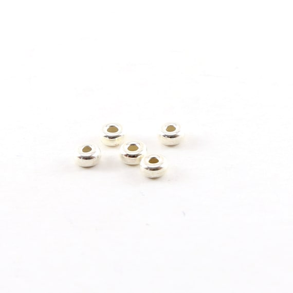 5 Pieces 4mm Smooth Pony Rondelle Seamless Sterling Silver 925 Spacer Beads