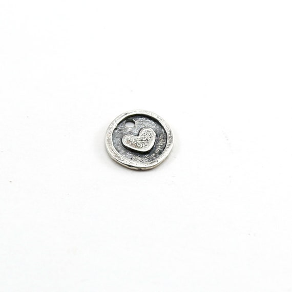 Sterling Silver Heart Imprint Circle Medallion Coin Charm Mother Daughter Sisters Best Friend Pendant