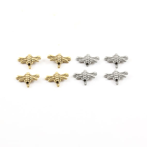 4 Pieces Pewter Cute Honey Bee Bead Charm Insect Nature Spring Pendant Antique Gold, Antique Silver
