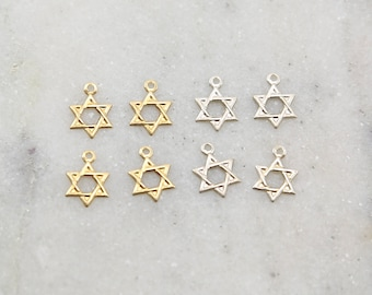4 Pieces Dainty Star of David Sterling Silver and 14K Gold Filled Lightweight Religious Charm