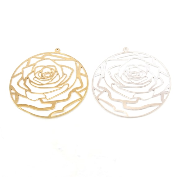 Large Rose Silhouette Die Cut Thin Lightweight Earring Component Charm Modern Nature Pendant in Gold or Silver