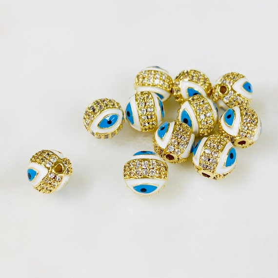 1 Piece Round Sparkle Enamel Evil Eye Beads Gold CZ Evil Eye Beads Jewelry Making Supplies