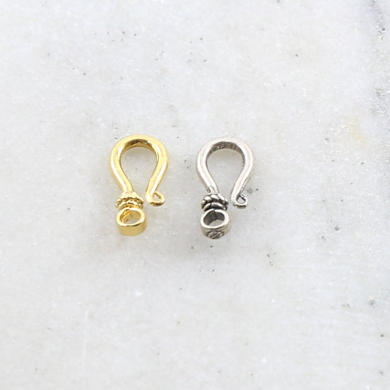Small Hook Clasp with Bali Bead Style Design in Sterling Silver or Vermeil Jewelry Making Supplies Chain Findings