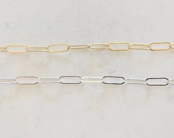 16mm x 5.5mm Light Elongated Flat Drawn Rectangle Cable Box Chain 14K Gold Filled, Sterling Silver Sold by the Foot/ Bulk Unfinished Chain