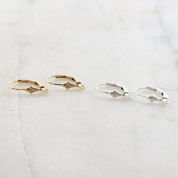 1 Pair Small Fleur De Lis Leverback Earring Hooks Earring Component in Sterling silver or 14K Gold Filled
