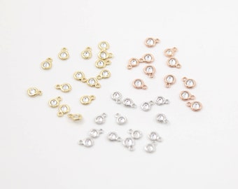Four Pieces Teeny Tiny CZ Connector 1 loop 7mm Charm Rhodium Plated Gold, Silver, or Rose Gold
