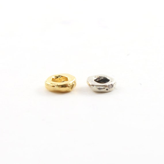 Artisan Organic Rondelle Shape 6mm Flat Round Donut Large Hole Spacer Bead in Vermeil or Sterling Silver 925