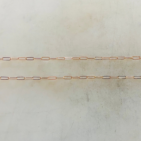 2mm x 5mm Delicate Elongated Flat Rectangle Cable Chain Box Chain Rose Gold Filled Sold by the Foot / Bulk Unfinished Chain