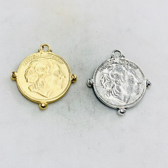 Large Ancient Greek Alexander the Great Coin Double Sided Horses Medallion Charm Pendant Pewter in Matte Gold, Antique Silver