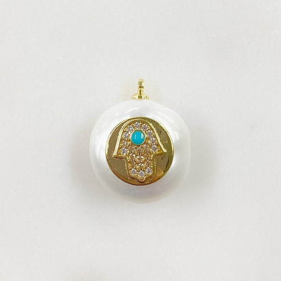 Freshwater Pearl Gold Disc CZ Hamsa Turquoise Stone Charm Gold Plated Natural Shape Pearl Charm