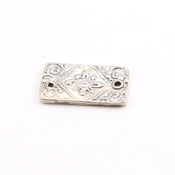 Sterling Silver Stamped Flower and Swirl Rectangle Bar Plate Connector Charm