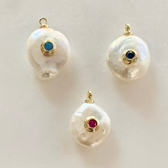 1 Piece Gold Plated Unique  Freshwater Pearl With Colored CZ Baroque Pearl, Choose Your Color Sapphire, Turquoise, or Ruby