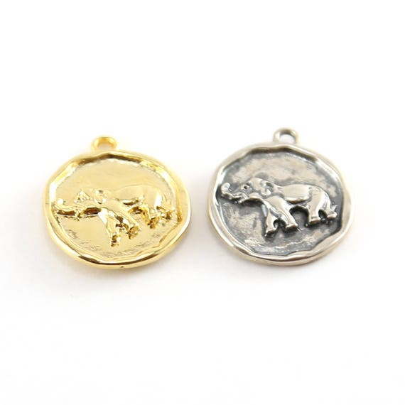 Coin Elephant Pendant With Flat Backing in Sterling Silver and Vermeil Gold