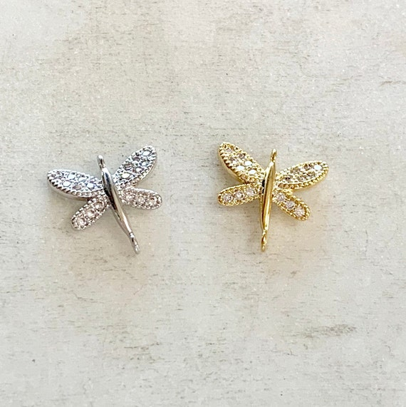 Small CZ Pave Dragonfly Connector Gold Plated or  Rhodium Plated 2 Loop Charm Spring Nature Dainty Cubic Zirconia Pendant