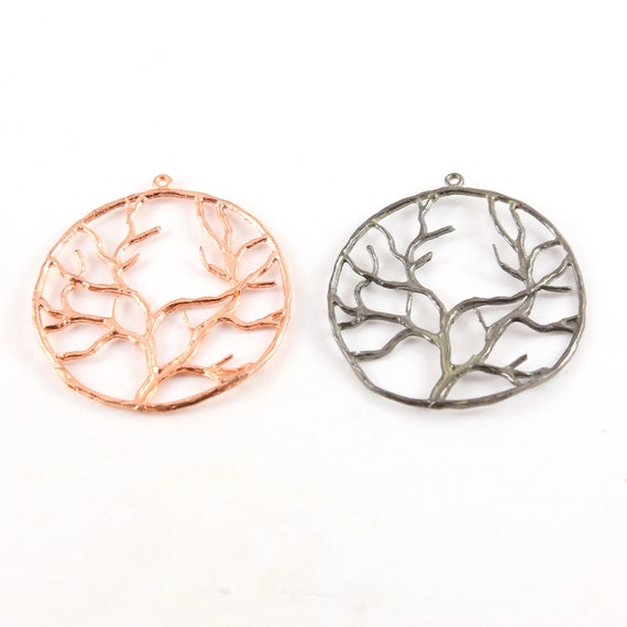 Large Tree of Life Family Tree Silhouette Branch Charm Modern Nature Pendant in Rose Gold or Gunmetal Plated Cast Copper