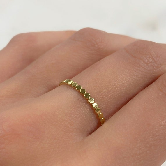 14k Gold Filled Flat Beaded Ring Choose Your Size 7 for 8 Stackable Thin Ready To Wear Rings