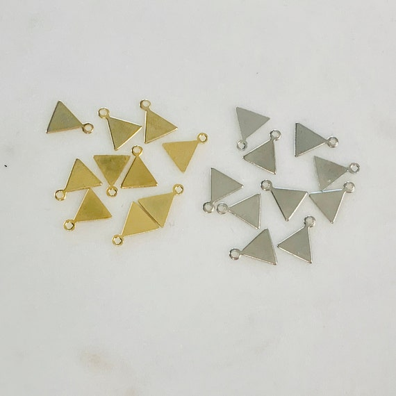 10 Pieces Small Base Metal Triangle Tag Stamping Tag Charm 9mm x 5mm Shiny Gold, Nickel Silver Jewelry Supply