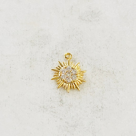 Tiny Small CZ Starburst Sun Charm Round Circle Drop Charm Pendant Celestial Jewelry Star Coin , Star Disc Gold Coin Gold Plated with CZ