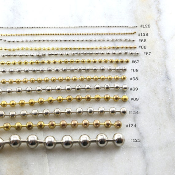3 Feet Base Metal Gold or Silver Plated Ball Chain Dog Tag Chain / Choose your Size Ball Chain
