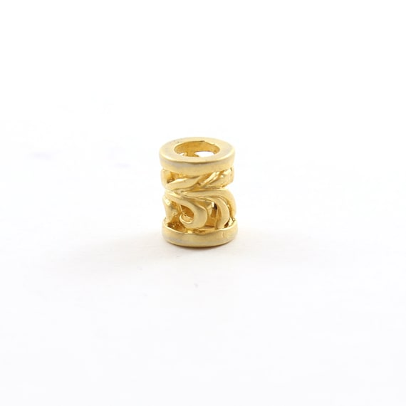 Brushed Matte Vermeil Gold Curly Leaf Swirl Bead Large Hole Spacer Beads Leather Slide Bead