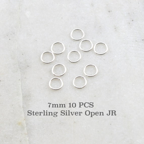 10 Pieces 7mm 19 Gauge Sterling Silver Open Jump Rings Charm Links Jewelry Making Supplies Sterling Findings