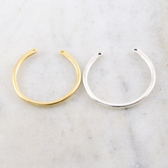 Large Pewter Base Metal Double Top Loop Horse Shoe Arc Curve U Shape Connector Open Circle Charm Gold or Silver