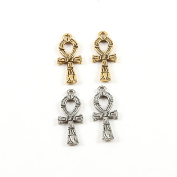 2 Pieces Detailed Small Egyptian Ankh Life Charm Pewter Base Metal Antique Silver Antique Gold