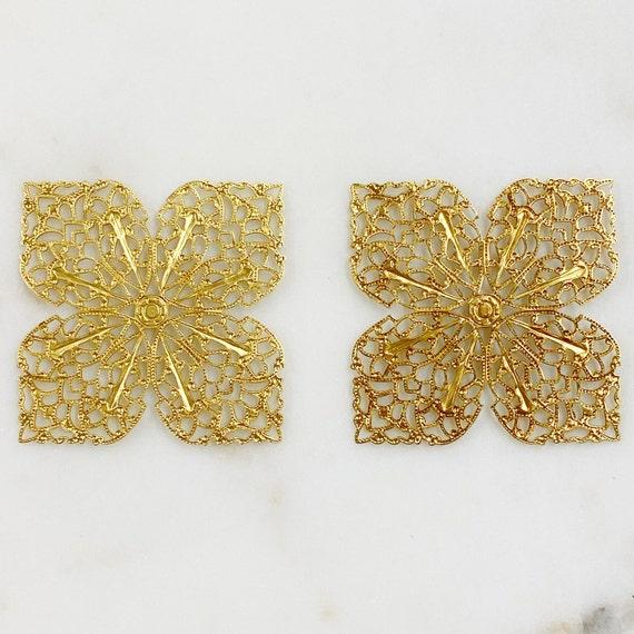 2 Piece Filigree Raw Brass Medallion Jewelry Making Supplies Unique Jewelry Tools