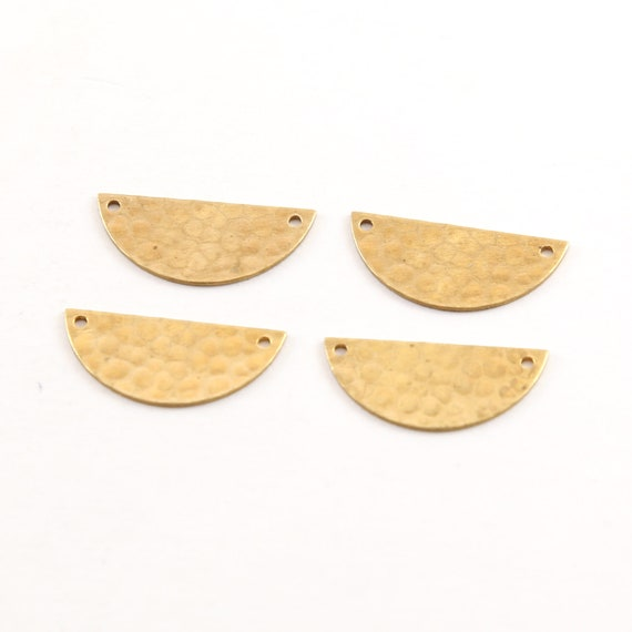 4 Pieces Small Lightweight Raw Brass Metal Stamping Blank Half Circle Connector Charm Pendant
