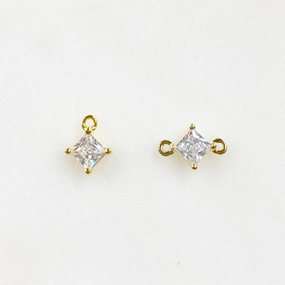 Teeny Tiny CZ Pave Diamond Charm, Choose Your Style, 1 or 2 Loops Gold Plated Mini Charm, 1 piece