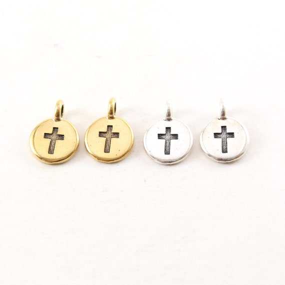 2 Pieces Pewter Base Metal Coin Stamped Cross Circle Charm with Bail Pendant Religious Spiritual Catholic Pendant