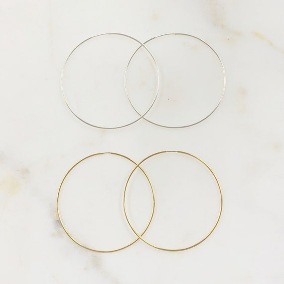 1 Pair 14K Gold Filled or Sterling Silver Very Large Endless Hoop Earring Choose Your Style 65mm Earring Wires Earring Hook Component