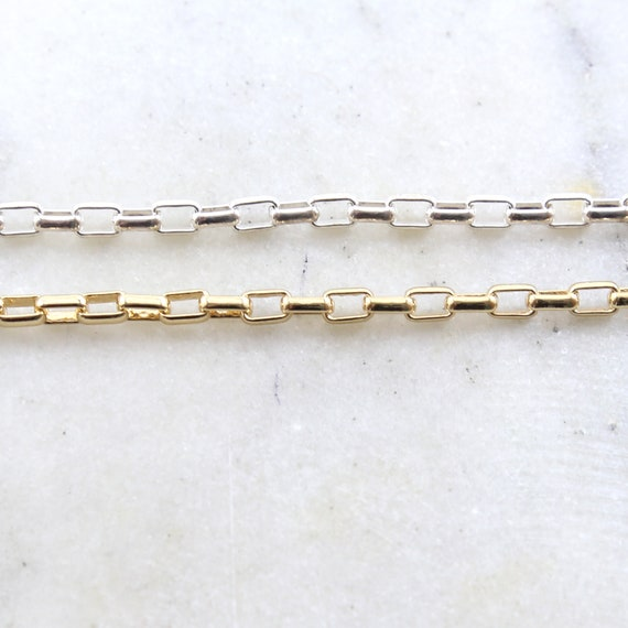 Gold or Silver Plated Base Metal Thick Rectangular Chain / Chain by the Foot