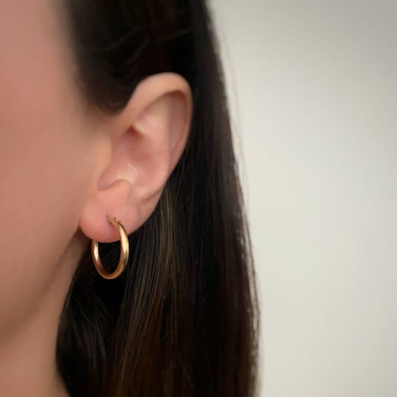 1 Pair 14kt Gold Filled Thick Flex Tube Hoop Earrings 18mm, 15mm, 13mm Earring Wires Earring Hook Component Small