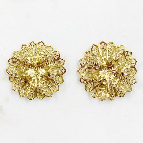 2 Piece Filigree Raised Round Raw Brass Unique Jewelry Making Supplies