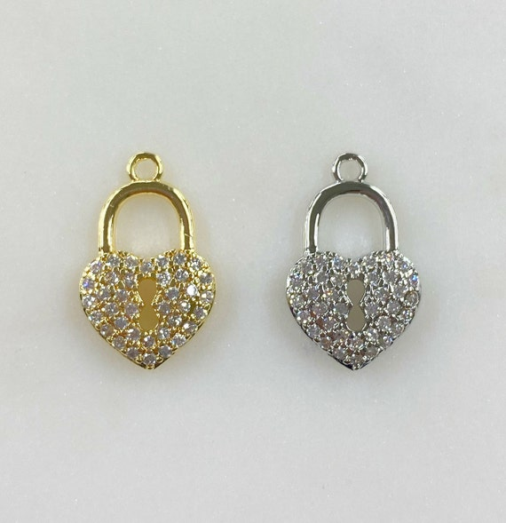 Heart Shaped Pad Lock CZ Charm Choose Your Color Gold or Silver