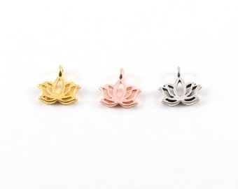 Tiny Small Lotus Silhouette Charm Sideways Loop in Sterling Silver, Vermeil Gold, Rose Gold Healing Spiritual Nature Flower Buddha Charm