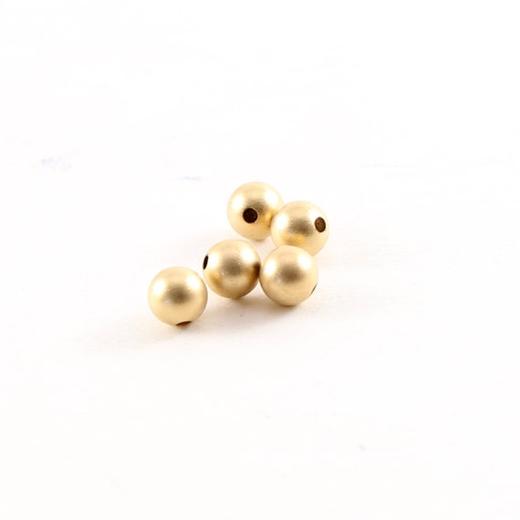 5 Pieces 4mm Smooth Matte Gold Seamless Round 14K Gold Filled Spacer Beads
