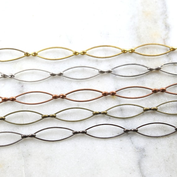 Base Metal Large Pointed Oval Chain in Antique Silver, Shiny Gold, Antique Copper, Brass, Gunmetal Nickel Lead Free / Chain By the Foot