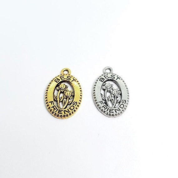 1 Pewter Best Friends Oval in Gold or Silver, Flowers, Pendant, Charm, BFFs, Sisters, Earring Components