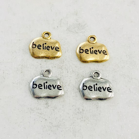 2 Pieces Pewter Base Metal Wide Oval with Believe Charm Pendant Inspirational Charm Antique Gold, Antique Silver