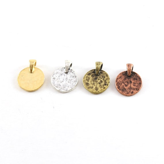 Small Pewter Base Metal Hammered Stamping Blank Circle Coin Charm with Bail Pendant Gold, Silver, Antique Brass, Antique Copper