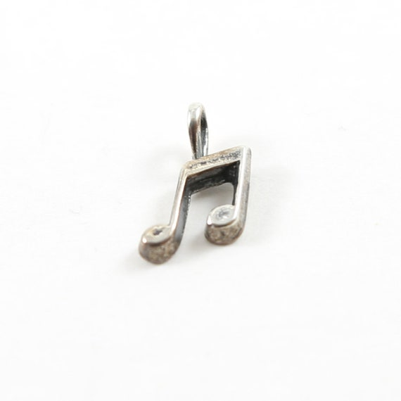 Sterling Silver Small Tiny Musical Eighth Note Artist Singer Music Charm Pendant