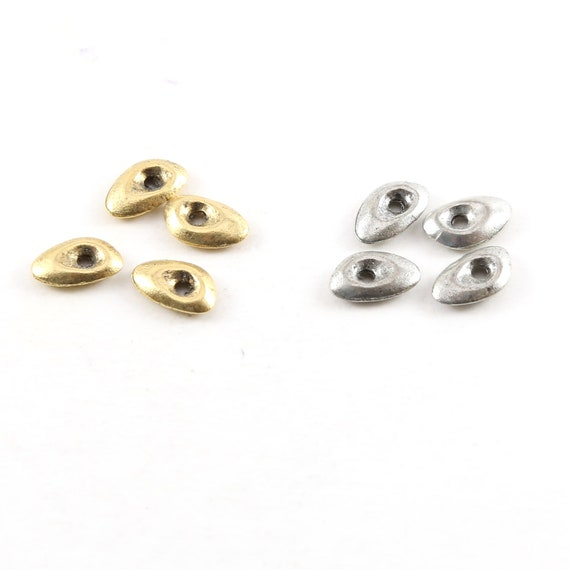 4 Pieces Pewter Metal Oblong Abstract Thick Open Oval Teardrop Rounded Tag Charm 10mm x 6mm in Antique gold or Antique Silver