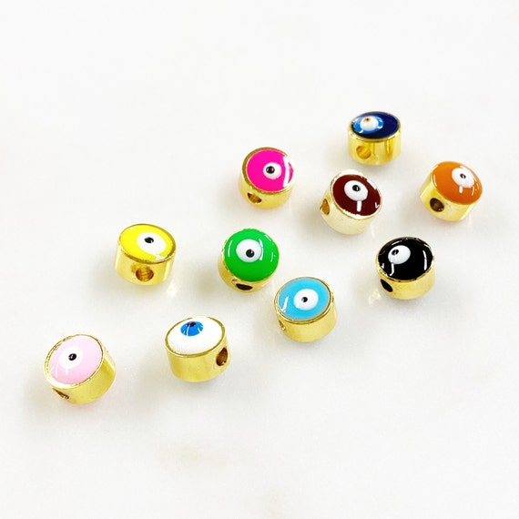 1 Piece Double Sided Gold Rimmed Evil Eye Enamel Bead Choose Your Color Protection Evil Eye Colorful Charms Jewelry Making Supplies