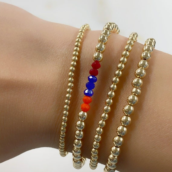1 Pc Support Armenia 14k Gold Filled Beaded Crystal Bracelet 100% of proceeds donated DIRECTLY to our brave soldiers and displaced families*