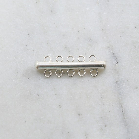 5-Strand Slide Clasp in Sterling Silver Jewelry Making Supplies Chain Findings