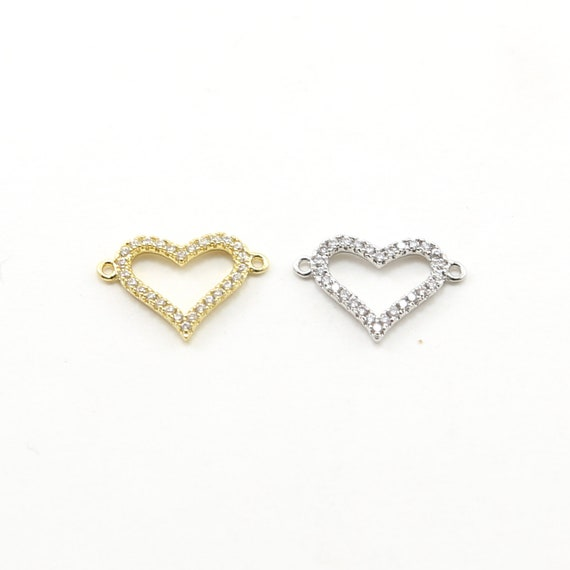 Cubic Zirconia Pave Heart Connector Love Pendant Rhodium Plated in Gold or Silver