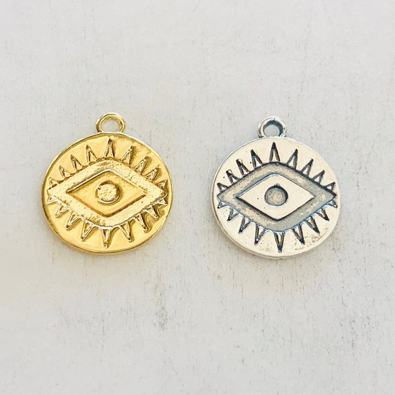 Evil Eye Disc Charm Coin Sterling Silver or Vermeil Gold Religious, Protection Charm, Good Fortune , Health 15mm x 14mm